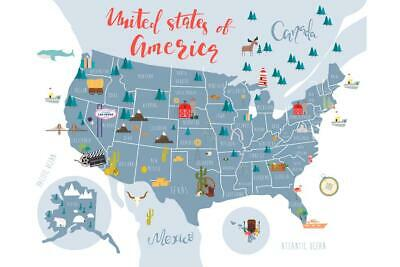 United States Of America Map With State Symbols Art Print Poster 24x36 inch