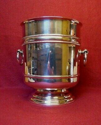 christofle large ice bucket champagne wine cooler silver plated perles france