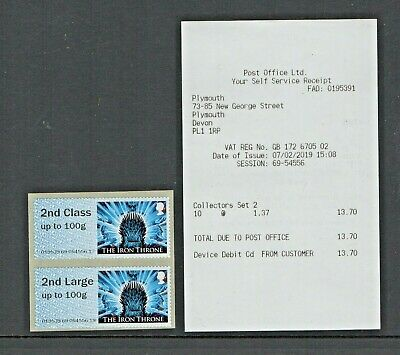 GAME OF THRONES NCR  2nd CLASS COLLECTOR PAIR Plymouth OFFICE Post Go