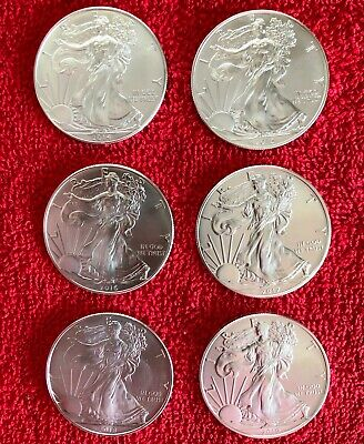 6 Silver American Eagle 1oz .999 US Mint $1 BU Coins FULL SET 2014-2019