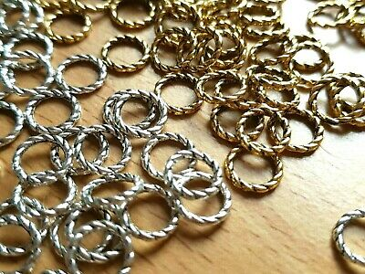 PK 50 GOLD OR SILVER TONE TEXTURED 8mm CLOSED JUMP RINGS-Jewellery making-Crafts