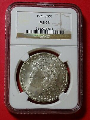 1921-S Morgan Silver Dollar CERTIFIED MS-63 by NGC! A BEAUTIFUL COIN!