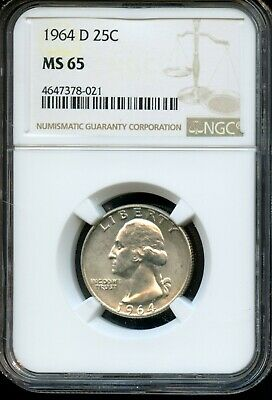 1964 D 25C Ngc Ms 65 (Mint State 65) Silver Washington Quarter Ow736