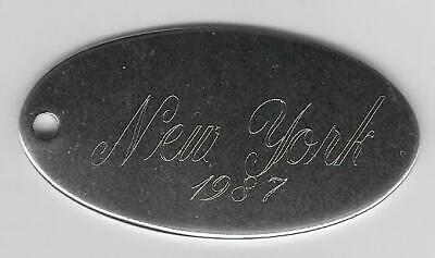 Silver Tone Solid Brass Oval Medalion,Engraved New York 1987 Key Ring