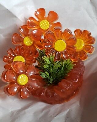 "Retro Vintage 60s ""Crystal Craft"" Resin Orange Daisy  ""Flowers and Moonstone"""