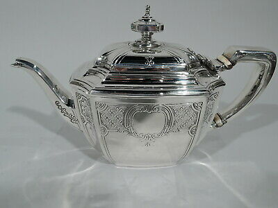Tiffany Hampton Teapot - 18389D - Antique Engraved - American Sterling Silver