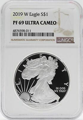 2019 W American Silver Eagle Proof 1 Oz NGC PF69 $1 Coin Brown Label JB578
