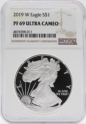 2019-W American Silver Eagle Proof 1 oz NGC PF69 Ultra Cameo - Brown Label JB578