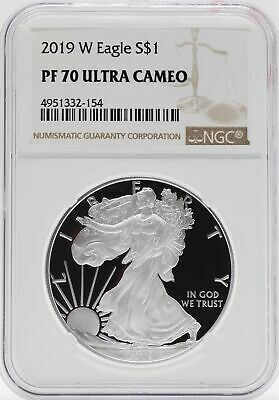 2019 W American Silver Eagle Proof 1 Oz NGC PF70 $1 Coin Brown Label JB579