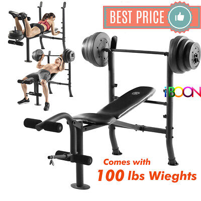 ADJUSTABLE LIFTING WEIGHT BENCH SET With Weights And Bar 100 Press Incline Flat