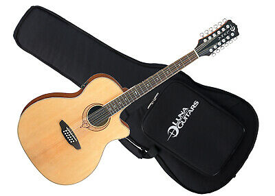LUNA Heartsong Grand Concert 12 string acoustic electric GUITAR new w/ CASE -USB