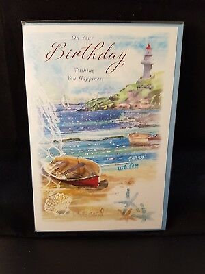 Open Happy Birthday Greeting Card Beach Theme