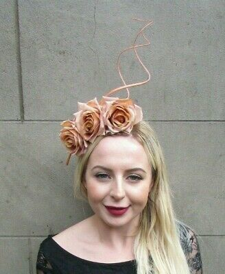 Nude Beige Latte Rose Flower Feather Fascinator Headband Races Hair Floral 6985