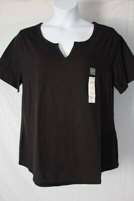 Womens Tee Plus Size 3X Top Ladies Shirt 24w - 26w Relaxed Fit Notch Neck Black