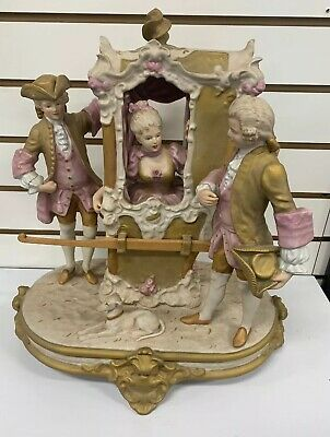 Monumental Royal Dux Figurine The Sedan Chair Coach Footmen Lady Dog 1970 *C