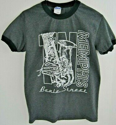 Memphis Tennessee  Beale Street T-Shirt Cotton Adult Size  Small S Jazz Blues