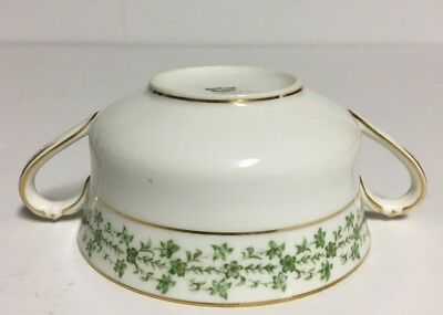 Haviland & Co France Double Handled Soup Bowl Cup~Green Flowers/leave w/Gold