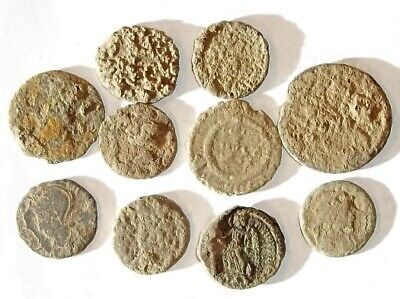 10 ANCIENT ROMAN COINS AE3 - Uncleaned and As Found! - Unique Lot X01138