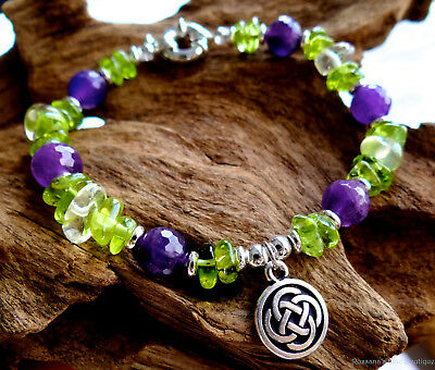 Peridot and amethyst bracelet w/ lemon quartz & silver Celtic knot