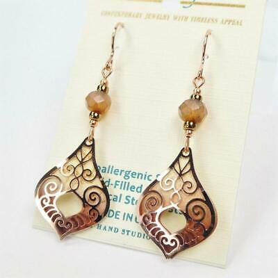 Adajio Earrings Taupe Teardrop with Shiny Rose Gold Plated Moroccan Overlay 7939