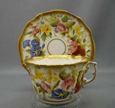 HAMMERSLEY Hand Painted Queen Anne Morning Glory Bone China Tea Cup & Saucer