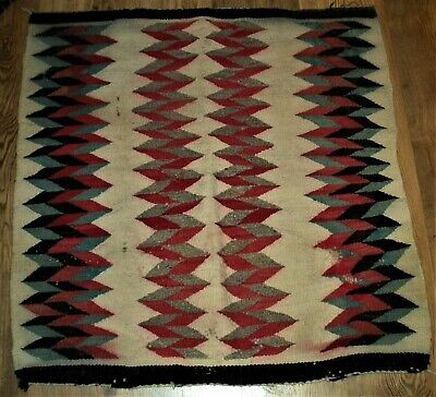 ANTIQUE c.1910-20s NAVAJO 3RD PHASE CHIEFS SADDLE BLANKET GREAT BLUE RED vafo