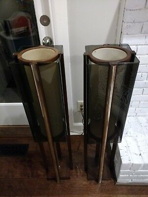 """Pair - Mid Century Modern Wood And Lucite 39.5 """" Tall Floor Lamp Set"""