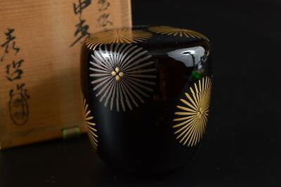 G437: Japanese Wooden Lacquer ware TEA CADDY Natsume Chaire Container w/box