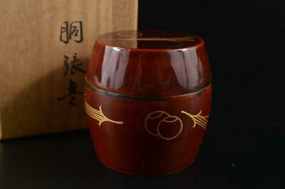 G1966:Japan Wooden Lacquer ware TEA CADDY Natsume Chaire Container w/signed box
