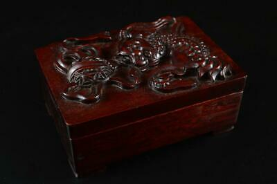 G1950: Chinese Wooden Lion sculpture CONTAINER for article Accessories Case Box