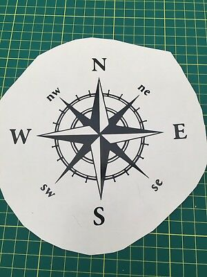 Compass Decal Sticker Black Or White