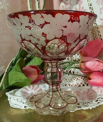 Bohemian Ruby Glass Etched to Clear Compote.
