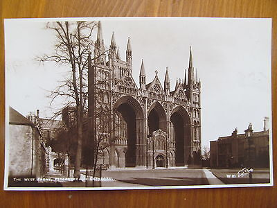 The West Front,Peterborough Cathedral,W 81,Real Photograph postcard,Walter Scott