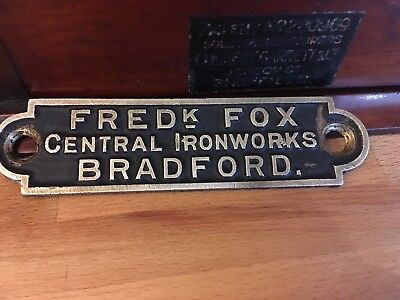 Industrial Makers plate FRED FOX IRON WORKS BRADFORD cast brass Circa1900 origin