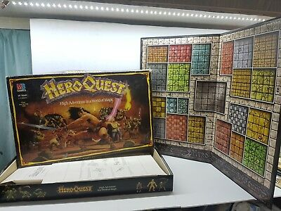 Box & board Hero Quest Board Game parts only Milton Bradley Heroquest