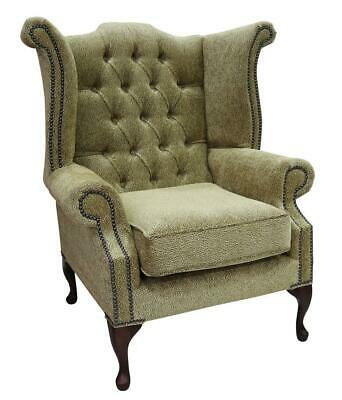 Chesterfield Queen Anne High Back Wing Chair Fontana Gold Fabric