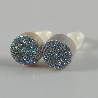 7mm Round Natural Agate Titanium Druzy Stud Earrings Silver Plated T075145