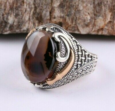 Original Yemeni Agate Aqeeq Stone Turkish Jewelry 925 Sterling Silver Men Ring23