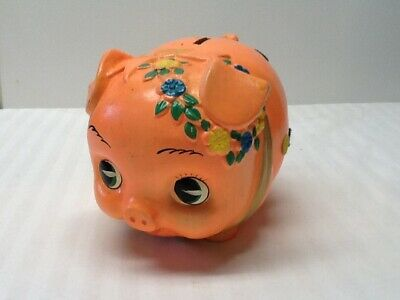 Vintage Japan Made Piggy Bank With Stopper - Yellow and Blue Flowers Around Ear