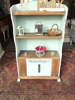 Lovely 1950s Solid Oak Part Painted Freestanding Bookcase