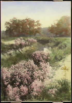 """PERCY F MURRAY, Antique c1920s Hand-colored """"Murray Print"""" NEW ENGLAND LANDSCAPE"""