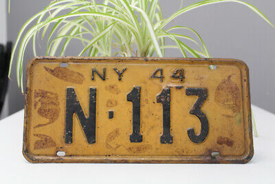 Antique & Vintage NY Art Deco Nummerschild 1944 New York USA Oldtimer Sign