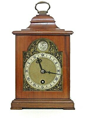 Quality English Mantel Bracket Clock, Mahogany Case, Serviced & Working Well 10""