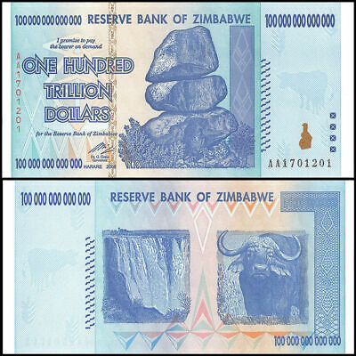 Zimbabwe 100 Trillion Dollars, AA /2008, UNC, P-91, 100 Trillion Series