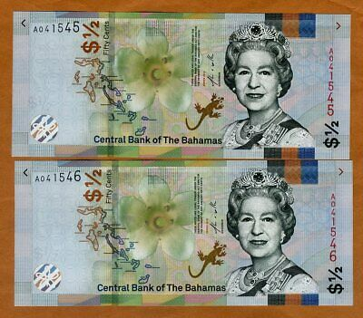 SET Bahamas, 2 x 1/2 dollar (50 cents) Consecutive pair, 2018 (2019) QEII, UNC