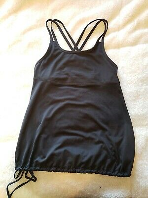 093a35ef30582 Champion Women s Tank Top Built in Bra Black Loose Fit Drawstring Size Small