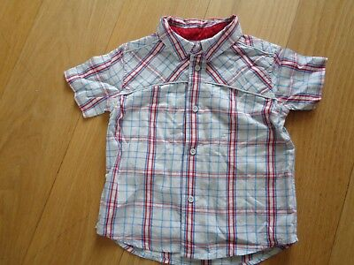 Baby Boys red, blue + white checked short sleeve shirt  18-24 months MOTHERCARE