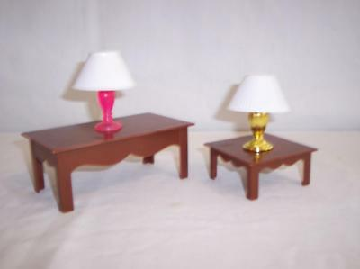 Barbie Doll Furniture 2 Tables 2 Lamps