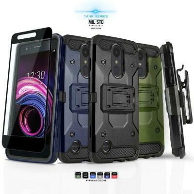 for LG TRIBUTE DYNASTY, [Tank Series] Phone Case Cover & Holster +Tempered Glass