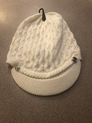 7d203efe20b Calvin Klein Woman s Winter Hat Honeycomb Cable Knit Beanie Cream Ivory NEW